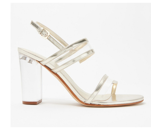Marc Fisher Patent Clear Acrylic Heeled Sandals Ou