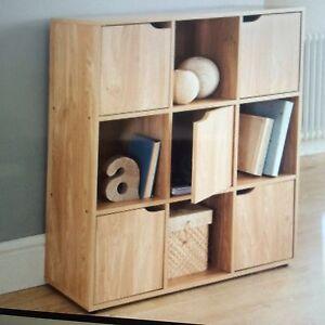 9 Cube Oak Turin Wood Shelve Shelf Shelving Books Toys Living Room