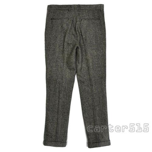 Men/'s Tweed Vintage Slim Fit Wool Dress Pants Work Wedding Trousers Plus Size