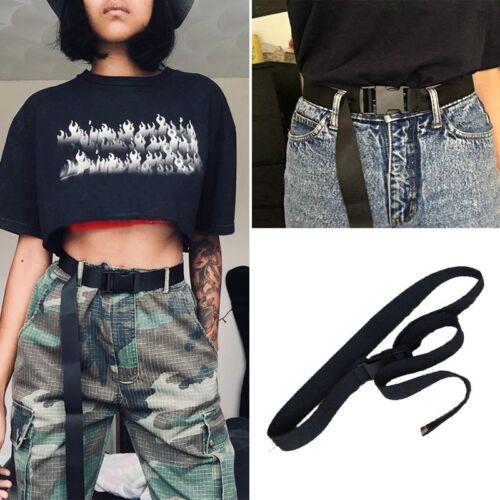 Black Canvas Waist Belt Women Casual Female Long Belts Plastic Buckle Harajuku