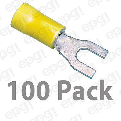 10-12 GAUGE VINYL LOCKING SPADE # 8 CONNECTOR 100 PK YELLOW CRIMP TERMINAL AWG