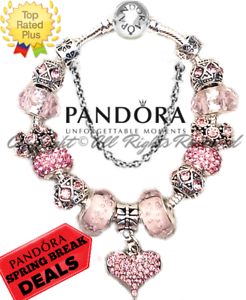 Authentic Pandora Bracelet Silver Pink Heart Love Story With European Charms Ebay