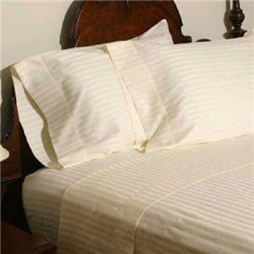 Duvet Set + Fitted Sheet Super King Size Ivory Stripe 1000 TC Egyptian Cotton
