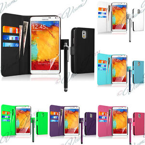 Samsung-Galaxy-Note-3-Etui-Cuir-Clapet-Portefeuille-Housses-Protection