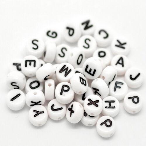 2000 Mixte Perles Blanc Alphabet Lettre Acrylique Bijoux Création 7mm