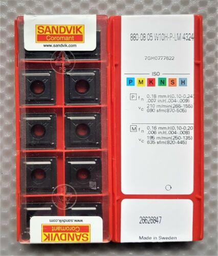 10x SANDVIK CARBIDE INSERTS 880-08 05 W10H-P-LM  Grade 4324