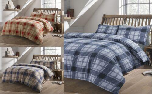 Highland Tartan Check Brushed Cotton Flannelette Duvet Cover Flannel Bedding Set