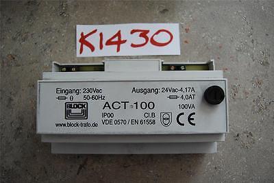 BLOCK 100VA ISOLATING TRANSFORMER 230V ac PRIMARY 1X24 VAC STOCK#K1430