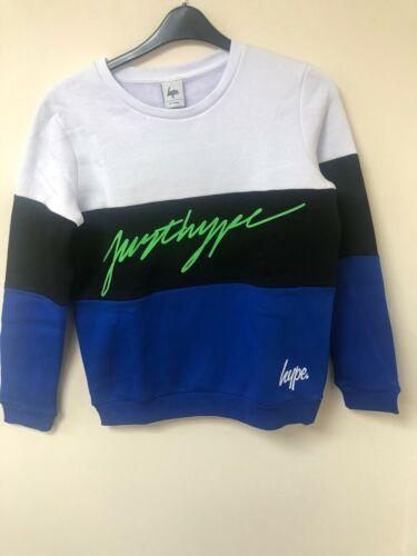 Boys JustHype Sweatshirt White//Black//Blue Age 14 years