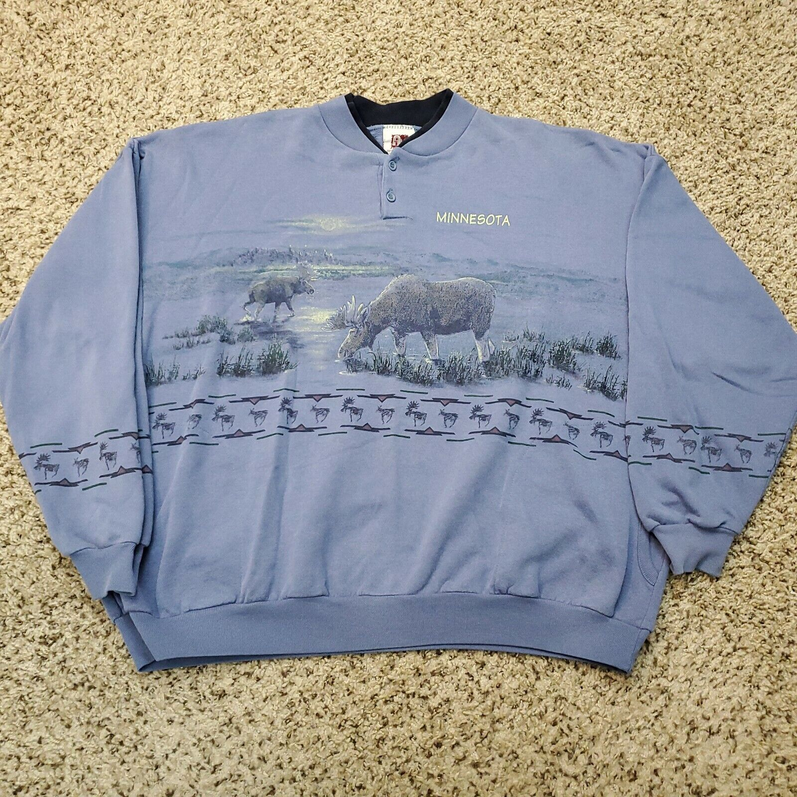 Vtg Art Unlimited Nature All Over Print Henley Sweatshirt Made USA Size 2XL
