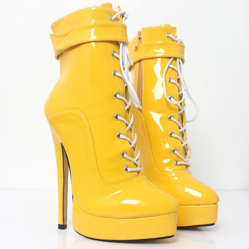 Womens Platform Stilettos Ankle Boots Pointy Toe Lace Up Slim Heel shoes Plus Sz