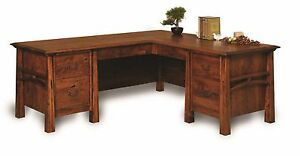 Amish Corner L Computer Desk Transitional Arts Crafts Solid Wood 78 X 72 Ebay