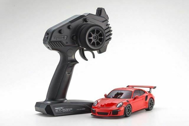 Kyosho-Mini-Z Porsche 911 GT3 RS listo para correr, Lava Naranja, RWD