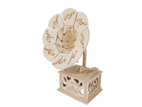 Grammophon 3D Holzbausatz Musikinstrument Holz Steckpuzzle Holzpuzzle Kinder Bau Puzzles & Geduldspiele