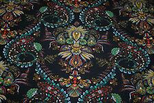 Rayon Stretch Jersey Knit Fabric Large Turkish Pasley  print  Black Jade 9.5 oz