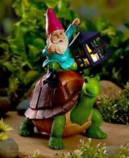Gnome Garden Statue Holding Lighted Lantern Sitting on Turtle Patio Lawn Decor