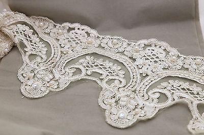Bridal Champagne Ivory Pearl Beaded Wedding Lace Trim Veil trim Per 1 Meter