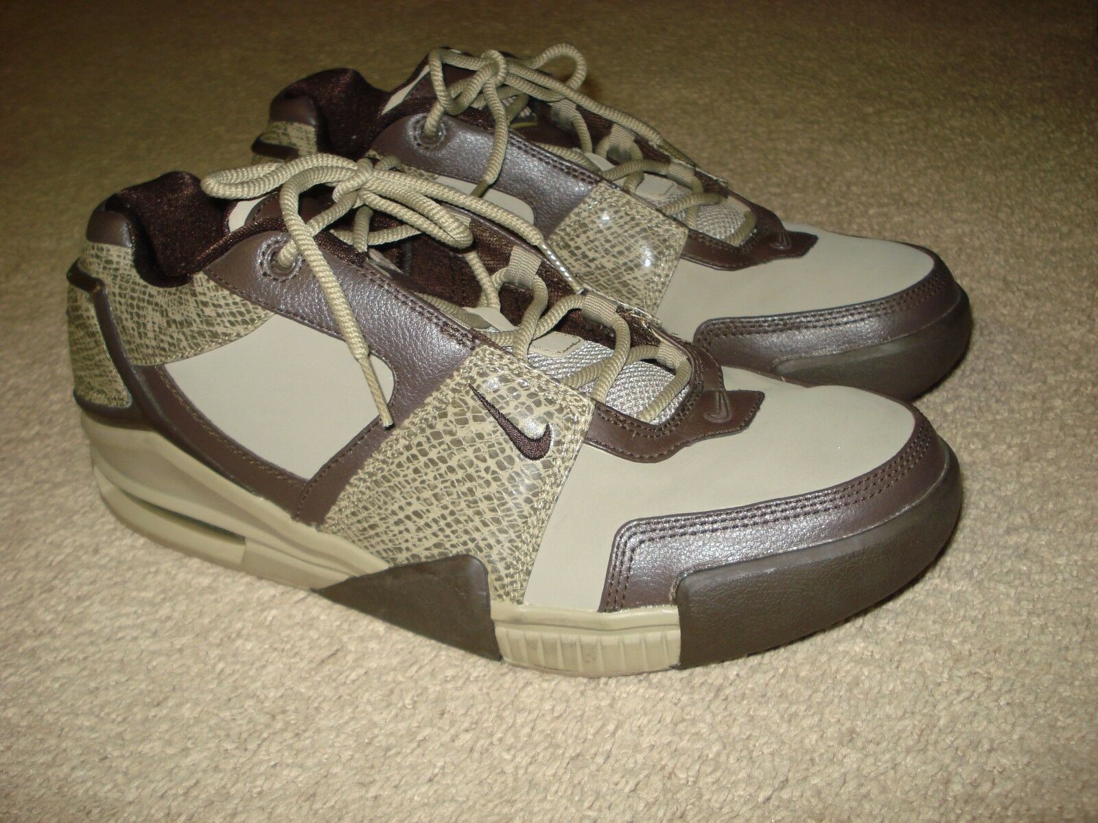2008 Nike Air Force Formidable Low Snakeskin Rare Mens Brown Sneakers Size 12