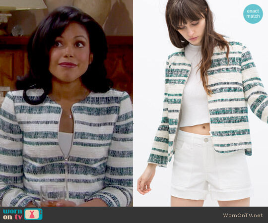 ZARA NEW zipped stripe blazer green coat M Medium blogger celebrity
