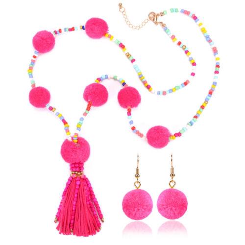 Charm Pom Boucles D/'oreilles Colorful Beads Tassel longue Déclaration Collier Bijoux Set