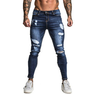 Gingtto-FASHION-Uomini-Skinny-Strappato-Slim-Fit-Stretch-Denim-Distrutto