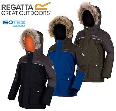 Regatta Kids Boys Paxton Parka Wind Waterproof Breathable Jacket