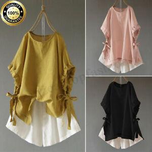 Women-Short-Sleeve-T-Shirt-Tunics-Asymmetrical-Split-Top-Bowknot-Blouse-Tee-Plus