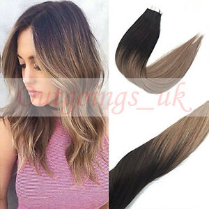 Remy Balayage Clip In Hair Extensions Dark Brown To Ash Blonde 18
