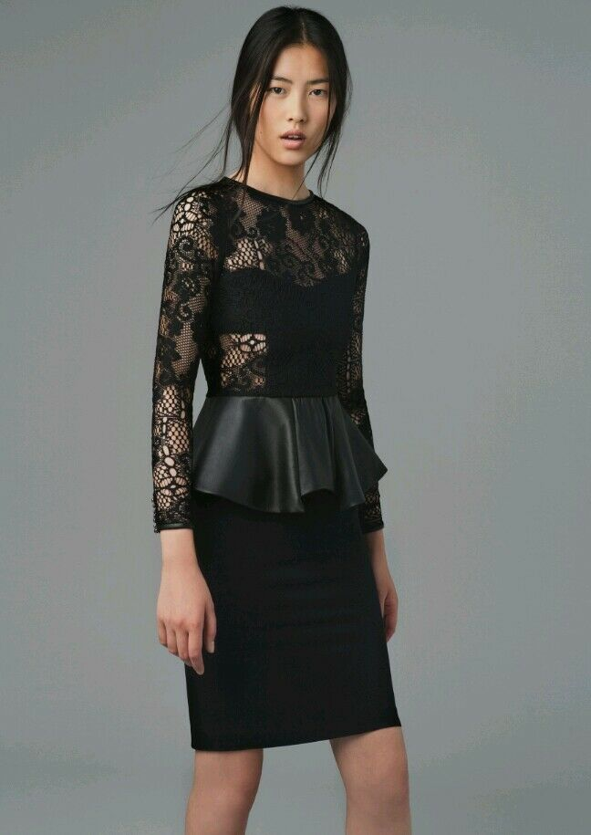 Zara Studio schwarz Lace Leather Peplum Dress Größe S  8