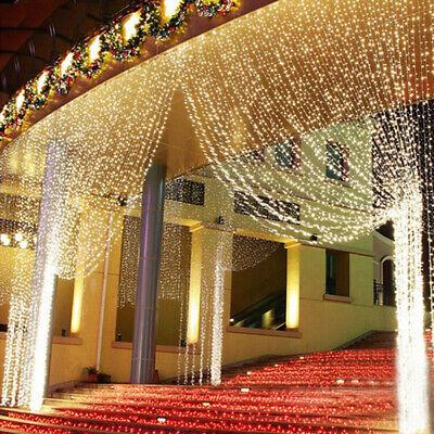 600er LED 3x6m Lichterkette Lichtervorhang Außen Innen Deko für Garten Party DE