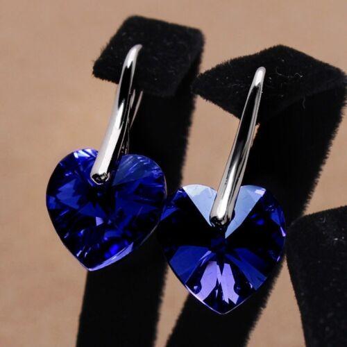 Women/'s 925 Silver Blue Zircon Heart Shape Love Pendant Necklace Earrings Set