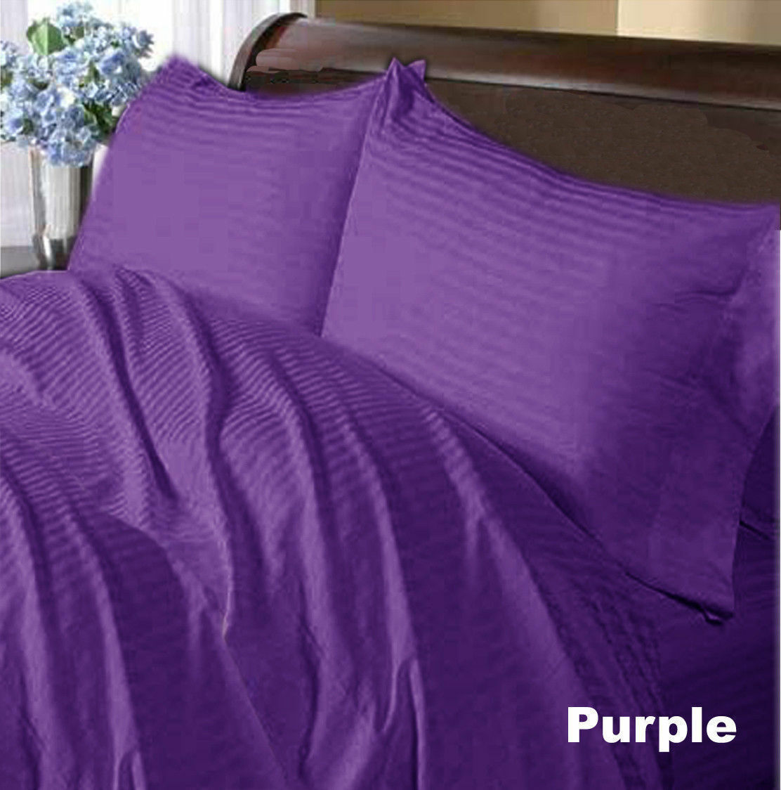 Select Bedding Item-Donna Fitted Flat Egyptian Cotton AU Dimensiones viola Striped