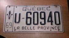 1969 Quebec Canada License Plate Trailer Farm U-60940