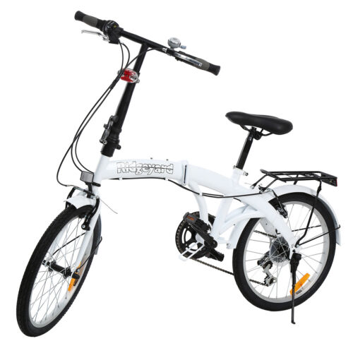 20/'/'Unisex Folding Bike Bicycle in Silver//White 7 Speed City Bike Ridgeyard Xmas
