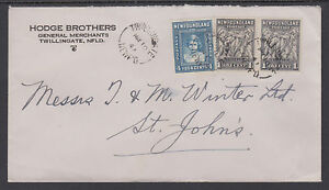 Newfoundland Sc 253, 256 on 1947 cover, TWILLINGATE to ST. JOHN'S