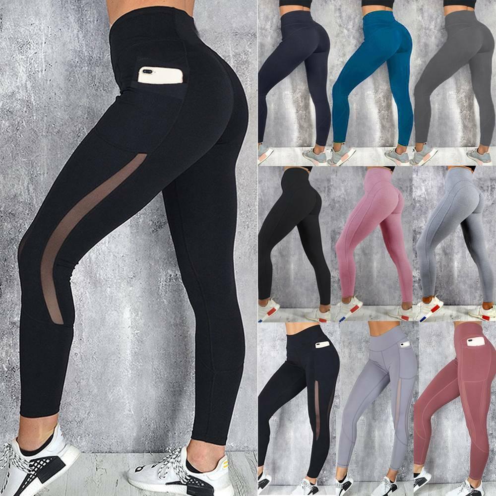 Womens Yoga Leggings Pants Pocket High Waist Fitness Sports Gym Stretch Trousers