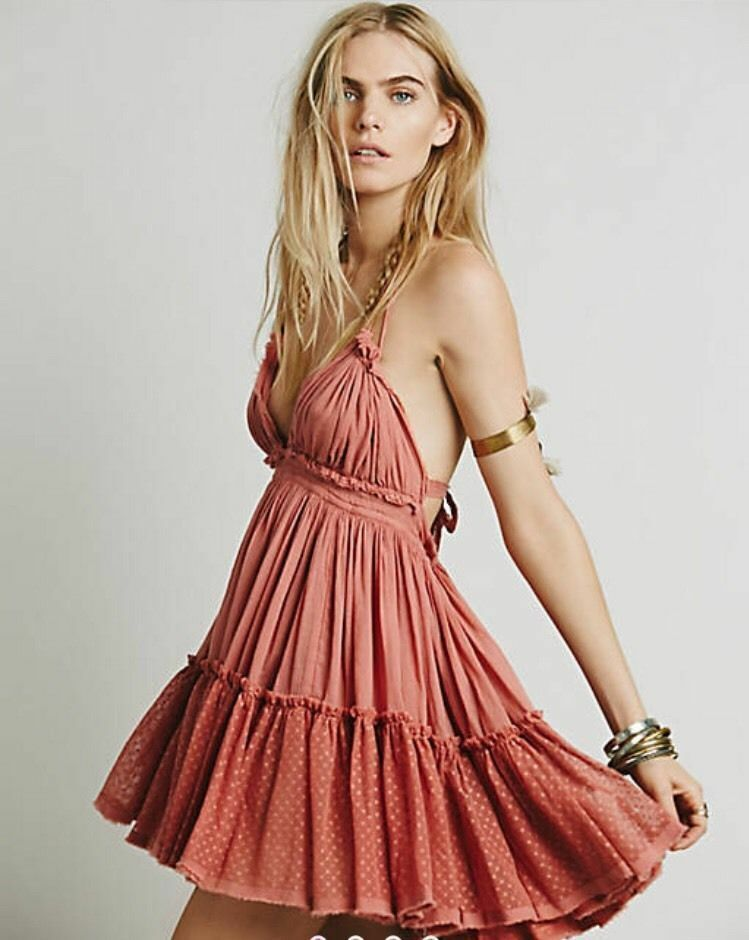 Free People 100 Degree Wild pink Pink Boho Date Party Beach Dress New Rare