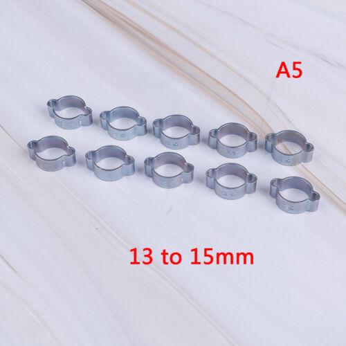 10pcs colliers de serrage double oreille Pince WORM DRIVE Carburant Tuyau D/'eau Tuyau Pinces e/&f