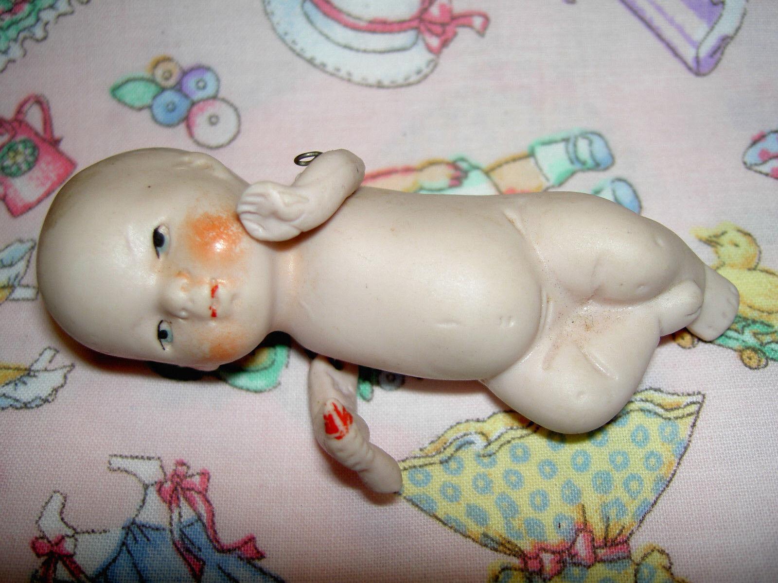 Antiguo Alemán 3 1 2  todo sopa de tono rosadododo Casa de muñecas tamaño JTD Botella de Bebé Muñeca Con