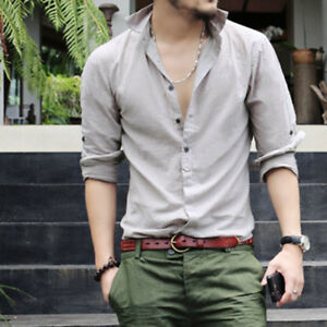 Mens-Long-Sleeve-Casual-Shirts-Slim-Fit-Stylish-Fashion-Dress-Shirts-Tops-GIFT