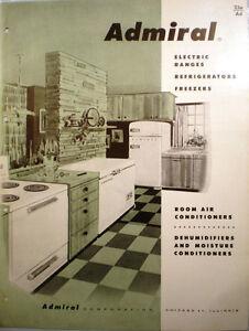 Vtg ADMIRAL Kitchen Appliances RETRO Catalog Refrigerators Ranges ...