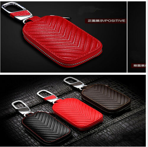 1X Genuine Leather Woman Girl Red SUV Jeep Auto Car Keychain Holder Bag Fashion