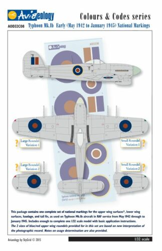 Typhoon National Markings 1//32 scale Aviaeology Decals May 1942-Jan 1945
