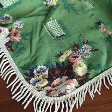 Vtg tablecloth barkcloth green floral ivory fringe CUTTER CRAFT  FABRIC 70x62""