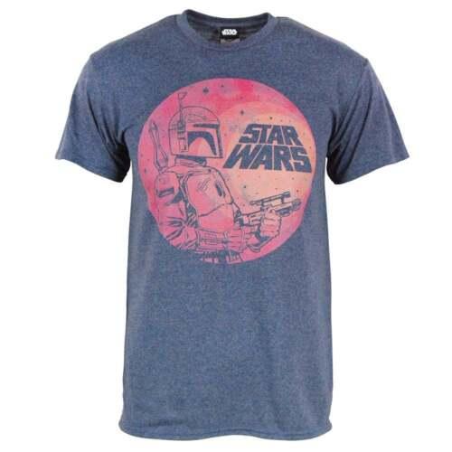 Mens Retro Star Wars Boba Fett Moon T Shirt Blue NEW Empire Strikes Back Jedi