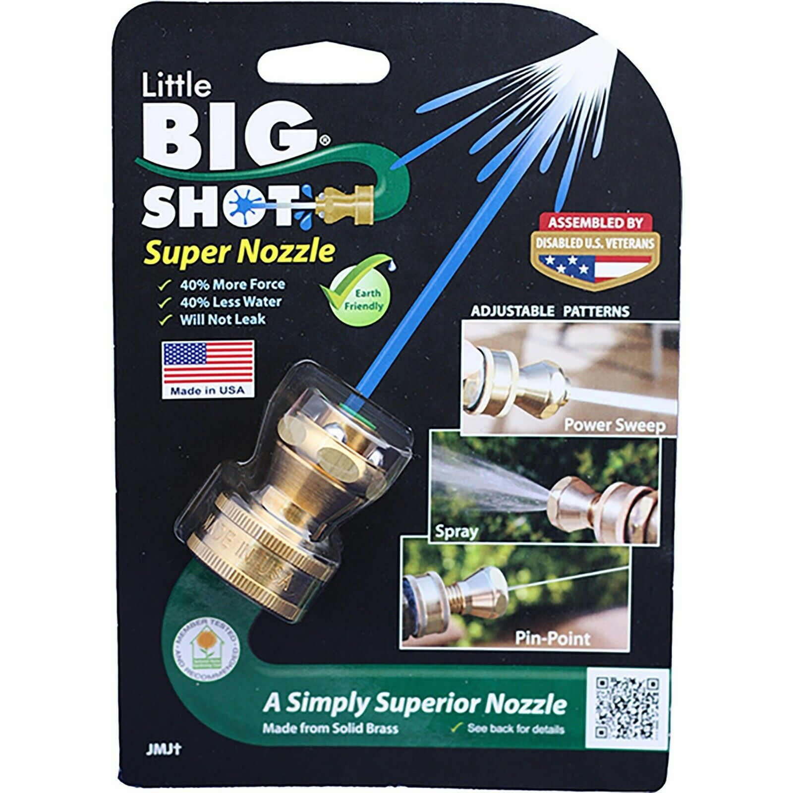 Little Big Shot Super Hose Nozzle Solid Brass Made in USA More Force, less Water