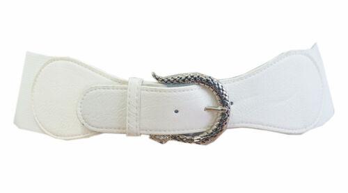 Stretch Gürtel Weiß Leder Schlange Schnalle Taillengürtel Hüftgürtel GZ-1978