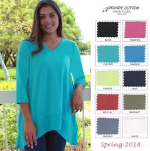 PRAIRIE-COTTON-USA-8259C-3-4-V-NECK-TUNIC-Slub-Band-Hem-S-M-L-XL-SPRING-2018