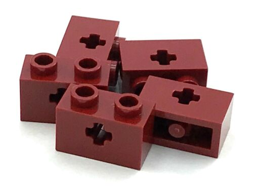 Lego 5 New Dark Red Technic Brick 1 x 2 Axle Hole Pieces