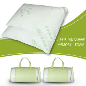 Bamboo Memory Foam Bed Pillow Queen Size Hypoallergenic with Carry Bag White
